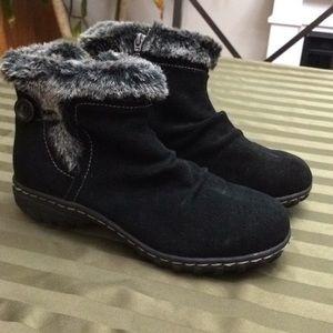 Khombu gracie black suede ankle boot fur trim sz 8